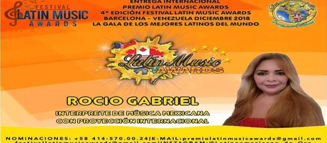 ROCIO GABRIEL NOMINADA A LOS LATÍN MUSIC AWARDS