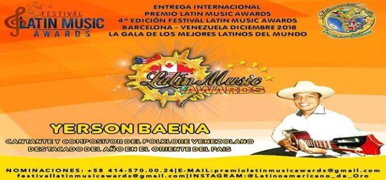 YERSON BAENA NOMINADO EN LOS PREMIOS LATÍN MUSIC AWARDS