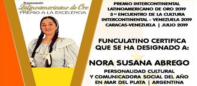 NORA SUSANA ABREGO: PERSONALIDAD CULTURAL Y COMUNICADORA SOCIAL DEL AÑO EN MAR DEL PLATA – ARGENTINA